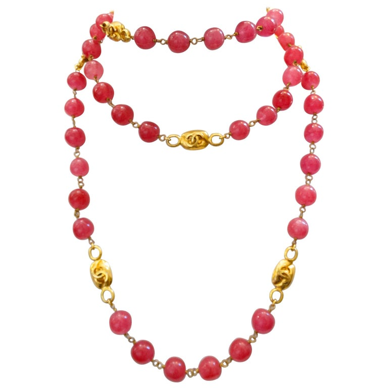 Chanel Pink Gripoix Necklace, 1997   For Sale