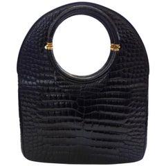 Rosenfeld Black Crocodile Skin Circle Bag, 1980s