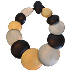 Monies Ebony Wood and Acrylic Multi Circle Necklace