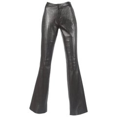 Tom Ford for Gucci Autumn-Winter 1999 black leather flared pintuck pants