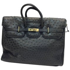 Italian Ostrich Gray Large Tote