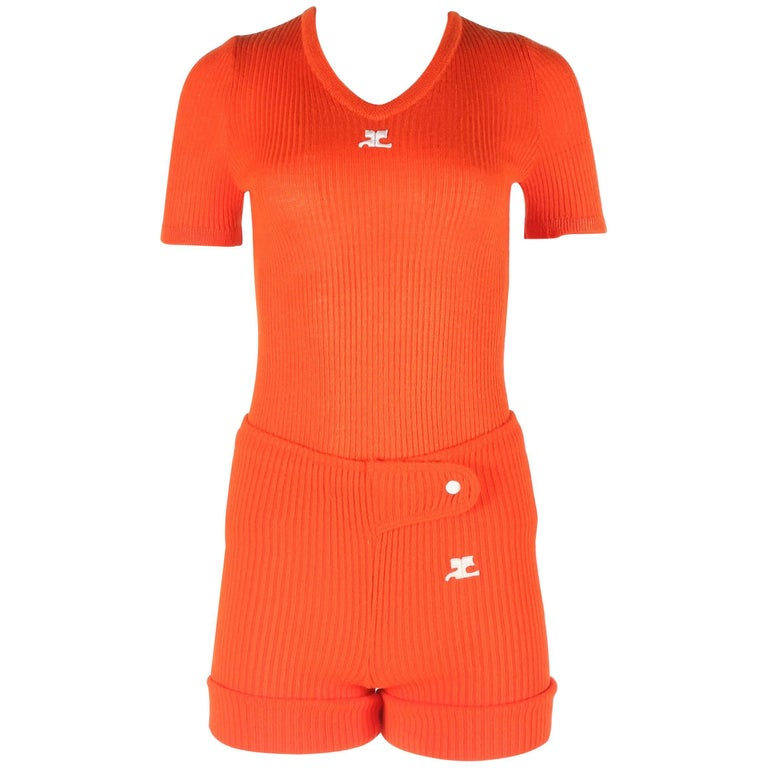 Courreges 1960s orange rib knit shorts and t-shirt ensemble