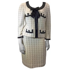 St. John Couture Cream And Black Skirt Suit