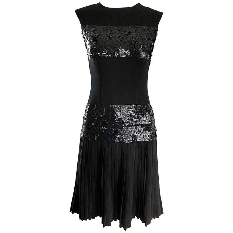 Black Sequin Crepe Vintage Pleated Skirt Dress 1960s