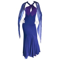 Bill Blass Vintage Silk Jersey and Chiffon Navy Blue Purple Grecian Evening Gown