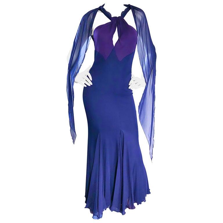 02057f1cf4 Bill Blass Vintage Silk Jersey and Chiffon Navy Blue Purple Grecian Evening  Gown For Sale