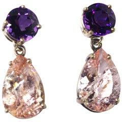 Amethyst and Krinkle Morganite Sterling Silver Stud Earrings