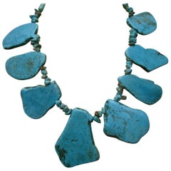 Artisan Stone Turquoise Color Howlite Statement Necklace, c1990