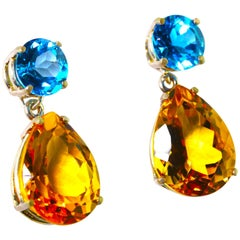 Unique Blue Topaz and Citrine Sterling Silver Stud Earrings