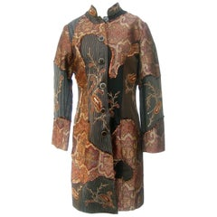 Neiman Marcus Bohemian Paisley Cotton Applique Duster Coat c 1990s