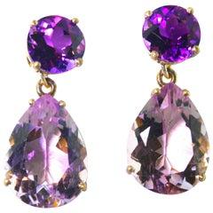 Amethyst and Rose of France Amethyst Sterling Silver Stud Earrings