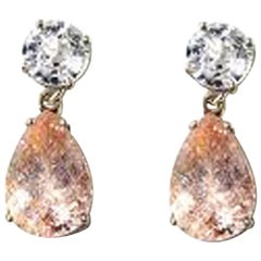 Unique White Zircon and Krinkle Morganite Sterling Silver Stud Earrings
