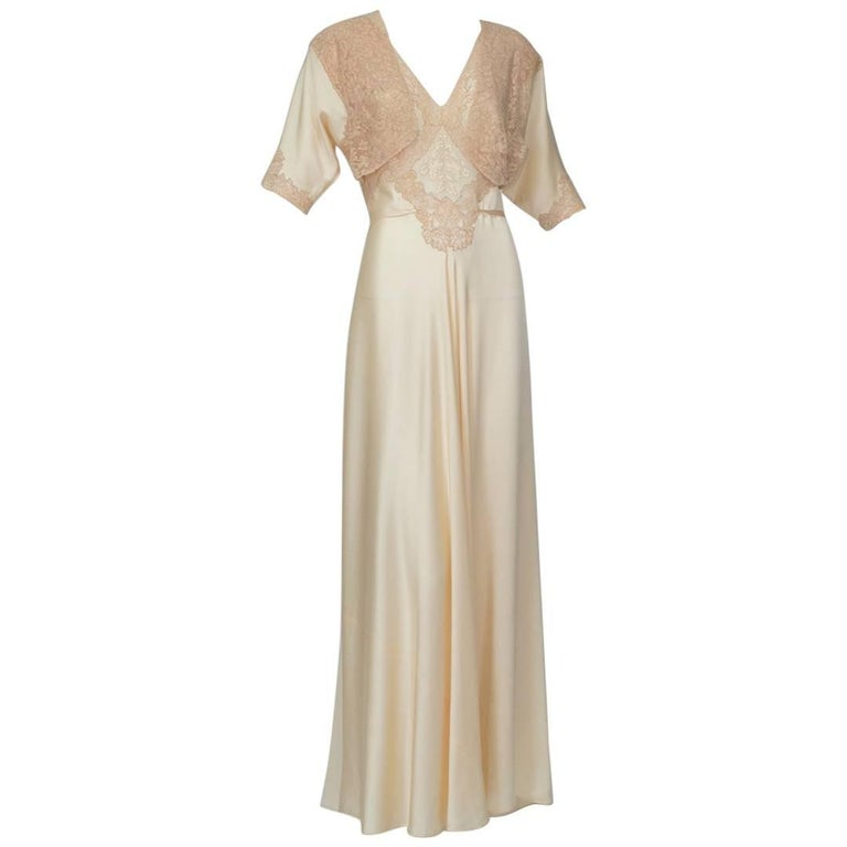 8f6c41163 Nude Hollywood Regency Charmeuse and Lace Peignoir