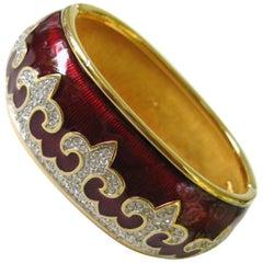 1980s Swarovski Crystal fleur de lis Red Enamel bracelet New, never worn