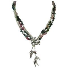 1980s Sterling Silver beaded Susan Cummings Parrot Charm Gem Stone Necklace