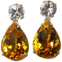 White Zircon and Golden Citrine Sterling Silver Stud Earrings