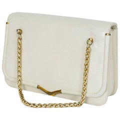 Judith Leiber Ivory Lizard Chain Handbag with Coin Purse, 1980s