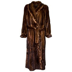 Adolfo Long Brown Mink Coat Sz 8