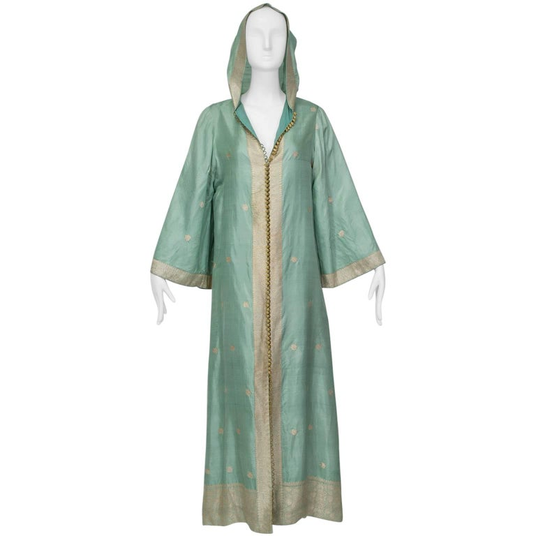 Haute Couture Hooded Silk Sari Kaftan with Provenance, 1970s