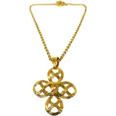 Chanel Gold Large Cross Charm Chain Evening Statement Necklace