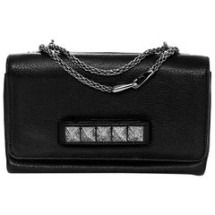 Valentino Black Crystal Studded So Noir Va Va Voom Bag