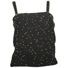 Yves Saint Laurent Black & Gold Lurex Metallic Knit Top Size Small.