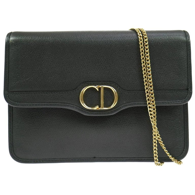 "Christian Dior 'CD"" Charm Gold Leather 2 in 1 Clutch Shoulder Flap Bag"