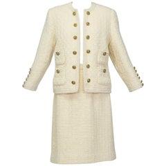 Chanel-Inspired 28-Button Bouclé Cardigan Suit, 1960s