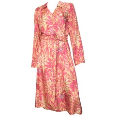 Bob Mackie Floral Silk Wrap Dress Size 14 / 16.
