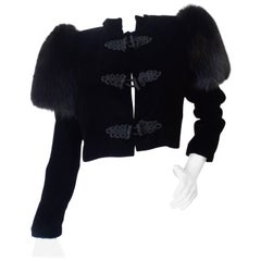 Victor Costa Fox Fur Shoulder Jacket, 1980s