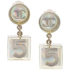 Chanel Silver Clear Lucite Iridescent Charm Dangle Evening Earrings in Box