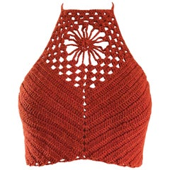 Burnt Orange Hand Crochet Vintage Wool Crop Top Flower Boho Shirt, 1970s