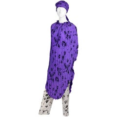 1970s Adolfo Purple Silk Caftan & Scarf w/ Contrasting Black & White Pants
