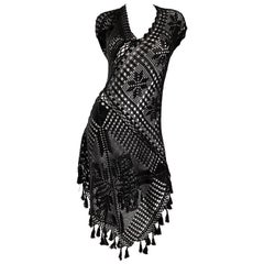 1990s Jean Paul Gaultier Vintage Black Hand Crochet Poncho Tunic Halter Dress