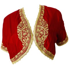 Red Velvet Gold Trimmed Moroccan Bolero Jacket, 1960s
