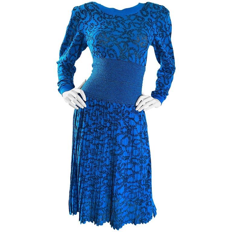 Missoni for Neiman Marcus 1980s Blue Black Chain Link Print Sweater Dress Set