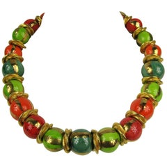 1980s Dominique Aurientis French Hand Painted  Beaded Necklace New, Never Worn