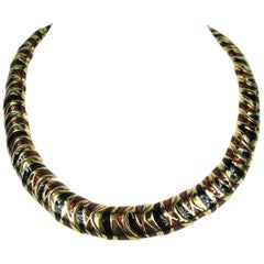 1980s Ciner Bronze & Black Enameled Necklace New, Never Worn