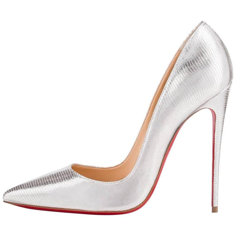Christian Louboutin NEW Silver Leather So Kate Evening Pumps Heels in Box
