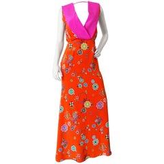 Emilio Pucci Orange and Pink Grasshopper Print Dress