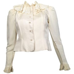 Partique New York Cream Ruffled Blouse Size 4.