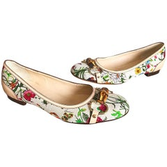 Gucci Size 37.5 Flora Print Canvas and Leather Ballet Flats Shoes