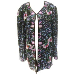 Silk Glass Beaded Sequined Evening Jacket for Saks Fifth Avenue c 1980s