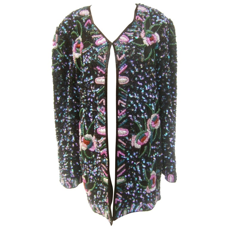 Silk Glass Beaded Sequined Evening Jacket for Saks Fifth Avenue c 1980s For Sale