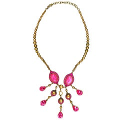 Christian Dior by John Galliano Pink and Gold Brass Rhinestone Vintage Necklace
