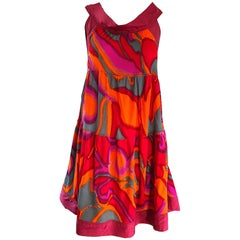 Missoni 1990s Hot Pink + Neon Orange + Gray Silk Jersey Vintage Trapeze Dress