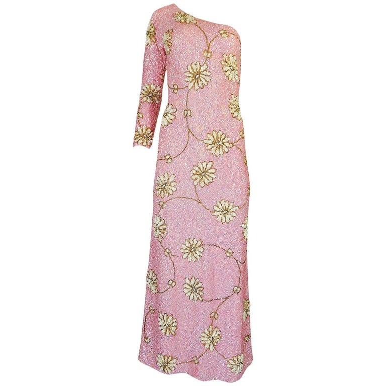 c.1965 Gene Shelly Pink Sequin Stretch Knit Dress w 3D Floral Design