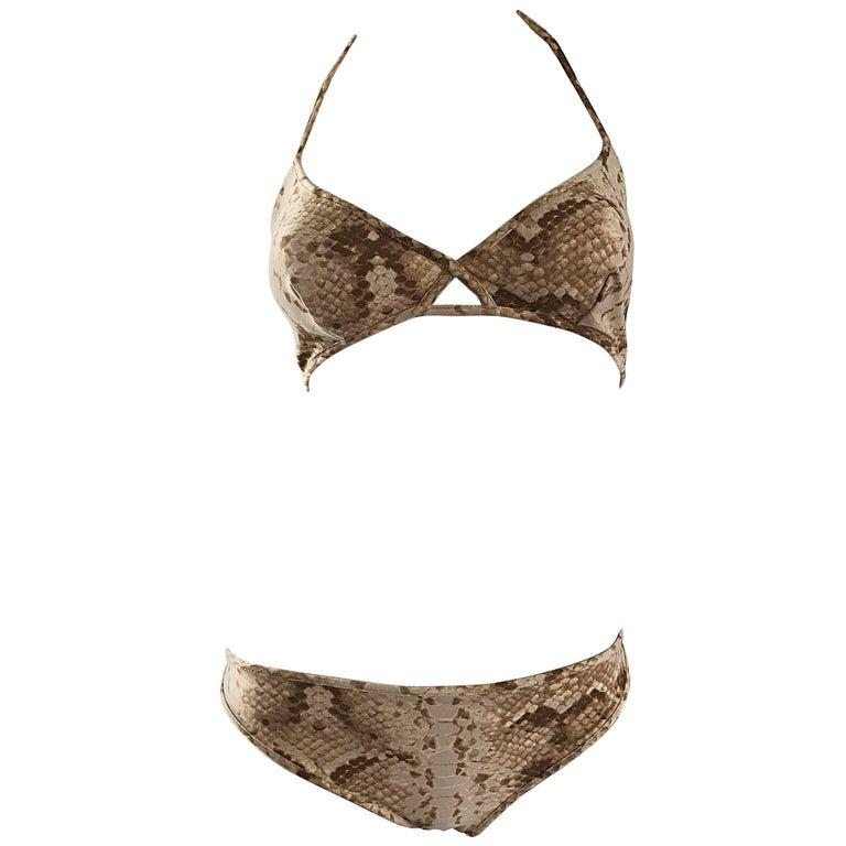 Tom Ford for Yves Saint Laurent Snake Skin Print Two Piece Bikini Swimsuit