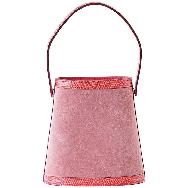 Hermes Stromboli Bag Rose Indienne Doblis Rose Azalee Lizard Sterling Silver Lid
