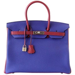 Hermes Birkin 35 Bag HSS Electric Blue Rouge Granat Togo Gold Hardware